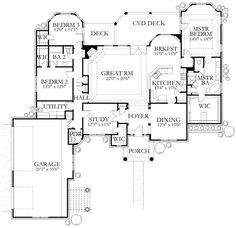 Mediterranean Style House Plan - 4 Beds 2.5 Baths 2526 Sq/Ft Plan #80-164 Floor Plan - Main Floor Plan - Houseplans.com
