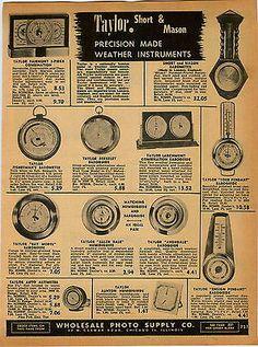 1951 AD Taylor Short & Mason Weather Instruments Barometer Airguide Corsair
