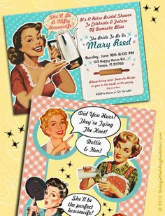 Vintage Bridal Shower Invitations! Fun! 1950s Vintage Bridal Shower Invitations and more!