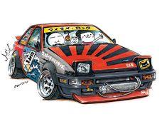"car illustration""crazy car art""jdm japanese old school ""AE86""original cartoon ""mame mame rock""  /  © ozizo"
