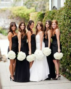 mismatched black bridesmaid dresses with white hydrangea bouquets black and white wedding Neutral Bridesmaid Dresses, Black Bridesmaids, Wedding Bridesmaids, Wedding Dresses, White Hydrangea Bouquet, Blue Hydrangea Wedding, White Hydrangeas, White Flowers, Black Bouquet