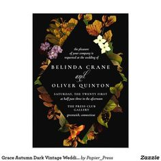Shop Grace Autumn Dark Vintage Wedding Invitations created by Papier_Press. Personalize it with photos & text or purchase as is! Spring Wedding Invitations, Bridal Shower Invitations, Watercolor Wedding Invitations, Floral Invitation, Wedding Templates, Wedding Invitation Templates, Wedding Matches, Our Wedding, Sophisticated Wedding
