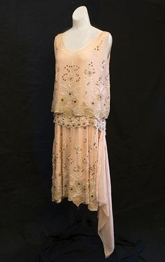 French beaded chiffon evening dress, c.1926, from the Vintage Textile archives.