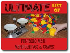 Ultimate List of Printable Math Manipulatives and Games from Jimmie's Collage