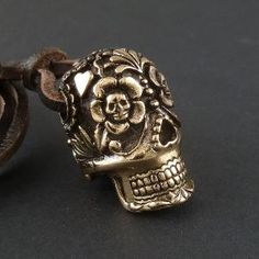 Sugar Skull Pendant Large Bronze on Leather Day by LostApostle