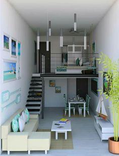 Planos De Pequeña Casa De 90 Metros Cuadrados, Solución Para Distribuir E  Iluminar Adecaudamente Los Ambientes Interiores | Architecture