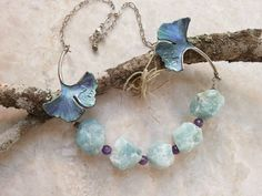 Amazonite Crystal Statement Necklace - Ginkgo Leaf and Amethyst Gemstone Beaded Choker - Hand Painted Leaves w/ Rough, Raw Crystal Beads