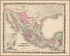 Mexico Antique Map Johnson 1863. Mexico antique map original. This vintage map of Mexico comes from the 1863 Johnson's New Illustrated Family Atlas. Published by Johnson and Ward successors to Johnson and Browning who succeeded J.H. Colton & Co. at No. 86 Cedar Street New York, NY in 1863. This one of a kind historic old map of Mexico is done in the distinctive Johnson style with decorative borders and finely etched topical vignettes.