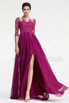 The magenta bridesmaid dress is made of soft chiffon fabric, lace top features O neckline and three quater sleeves, A Line skirt with a slit finishing with floor length.