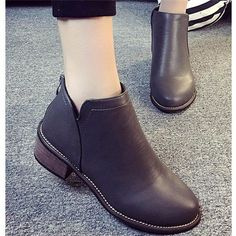 Zipper Square Heel Pure Color Ankle Short Boots For Women