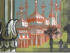 'The Royal Pavilion,' Brighton (1961) by English painter, printmaker & designer Edward Bawden (1903-1989). Colored linocut. via art value