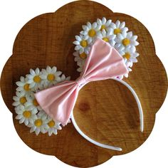 White Daisy Floral Mouse Ears by mouseCAears on Etsy, $27.00