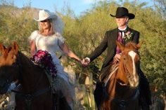 Cowgirl Bride, Jan and her fiance getting ready to say their vows at Hacienda del Sol