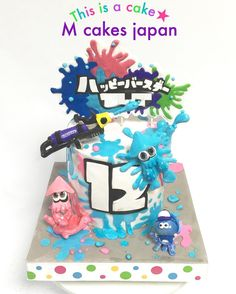 ##Goodmorning #スプラトゥーン #ゲーム #誕生日ケーキ #イカ #12歳 #スプラトゥーンケーキ#水色 #ピンク #Splatoon #splatoonlove #game #squid #gamecake #Splatooncake #will #painting #fondant #fondantfigure #cake