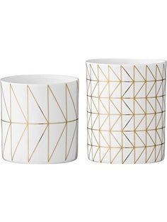 Bloomingville White & Gold Ceramic Votive and Tealight Holder Set ❤ Bloomingville