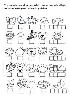 ordenar Fichas de ejercicios con sílabas para niños