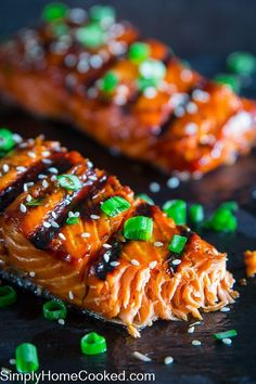 This grilled teriyaki salmon recipe is so flakey, and delicious. The easy teriyaki marinate gets caramelized on the grill for the ultimate smokey sweet flavor. Grilled Teriyaki Salmon, Teriyaki Glazed Salmon, Grilled Salmon Recipes, Baked Salmon, Teriyaki Marinade, Grilled Fish, Grilling Recipes, Fish Recipes, Seafood Recipes