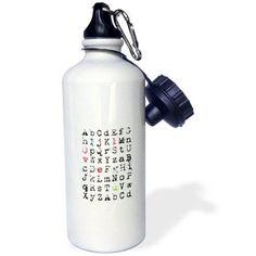 3dRose I Love You hidden message in letters, Sports Water Bottle, 21oz