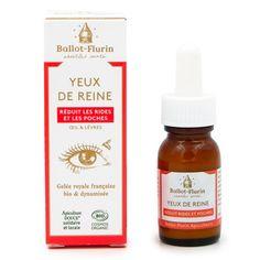 Crème Yeux de Reine Bio Ballot-Flurin Contour, Creme Bio, Mademoiselle Bio, Propolis, Les Rides, Whiskey Bottle, Beauty, Products, Spring Water