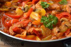 Schab z pieczarkami po bałkańsku Thai Red Curry, Pork, Yummy Food, Meat, Ethnic Recipes, Fitness, Kale Stir Fry, Delicious Food, Health Fitness