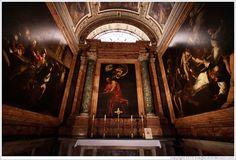 Contarelli Chapel, containing three paintings by Caravaggio: The Calling of St Matthew, The Inspiration of Saint Matthew, and The Martyrdom ...