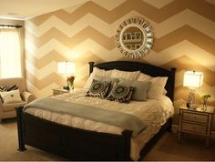 My dream bedroom. When do you think the kids would be old enough to allow for a white comforter?Maybe I could just do the chevron wall for now?