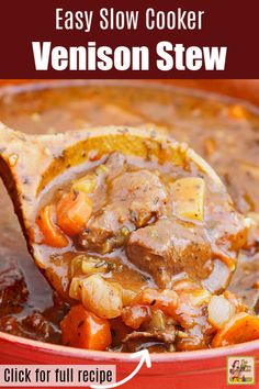 Then you must try this Easy Slow Cooker Venison Stew. It can also be made with beef. Gluten free and made with your favorite onion soup mix and vegetables its the best crockpot meat stew recipe youll make for dinner! Deer Recipes, Stew Meat Recipes, Slow Cooker Recipes, Crockpot Recipes, Cooking Recipes, Game Recipes, Recipes Dinner, Cooking Tips, Healthy Recipes