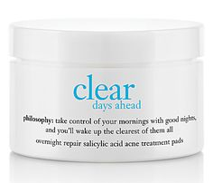 Buy Philosophy - Clear Days Ahead Overnight Repair Salicylic Acid Acne Treatment Pads products from authorized retailer of Philosophy. Get free samples and free shipping over $49, earn rewards at Beauty Bridge.
