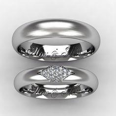 Обручальные кольца из белого золота с бриллиантами 16 шт по 1 мм