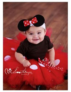 Minnie Mouse Tutu, Baby Tutu and puff headband set, Photo Prop, Childrens Toddler Infant Tutu, Halloween Costume, Birthday, Mickey on Etsy, $38.00