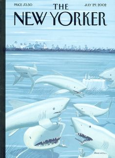 """The New Yorker - Monday, July 2002 - Issue # 3992 - Vol. 78 - N° 21 - Cover """"Drinks Before Dinner"""" by Bruce McCall New Yorker Covers, The New Yorker, Magazine Art, Magazine Covers, Graphic Design Posters, Vogue, Ocean Beach, Book Illustration, Hush Hush"""
