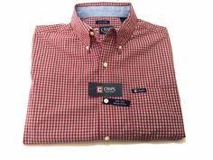 Chaps M Men's Easy Care Button Down Long Sleeve Red Check Medium NEW NWT #Chaps #ButtonFront