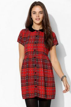 Motel Beatrix Plaid Babydoll Dress #urbanoutfitters