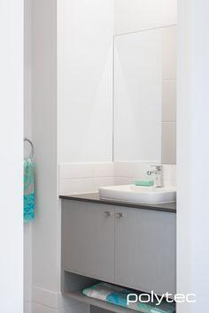 Vanity in Riga Zinc Finegrain. Bathroom Photos, Kitchen Photos, Bathroom Renos, Master Bathroom, Bathrooms, Walk In Closet Design, Cabinet Colors, Modern Bathroom Design, Panel Doors