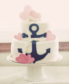 Nautical Anchor #Cake with fondant rope & pink hearts... I want this for my 21 birthday cake this year!!! :)