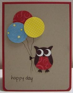 Owl Punch Birthday Card - for my sister . Homemade Birthday Cards, Birthday Cards For Boys, Bday Cards, Happy Birthday Cards, Homemade Cards, Card Making Inspiration, Making Ideas, Owl Punch Cards, Owl Card