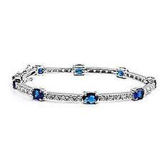 Morgan: Sparkling 10.3ct Sapphire & CZ 925 Silver Tennis Bracelet