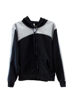 Plus Size Quilted Contrast Fleece Lined Hoodie