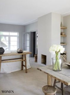 Love the simplicity of plastered walls, no mouldings, and beautiful wood.