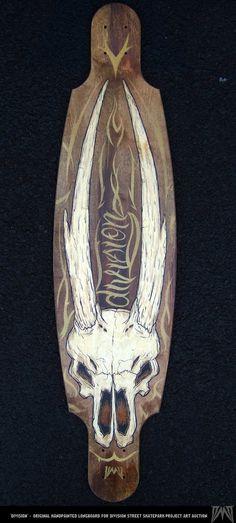 Hand-painted longboards for DSSP Skate Auction by Dana MacKenzie, via Behance