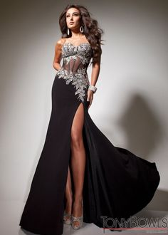 Super Sultry Black Gown with Silver Beading and Corset Bodice - Black Prom Dress - Tony Bowls Paris 113737