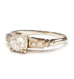 Art Deco 1920's .44 CARATS VS1 I Diamond 14K White Gold Engagement Ring