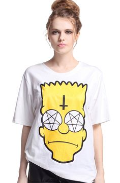 "EAST KNITTING RE 56 t shirt women ""Sad Simpson"" White T shirt Fashion Tee-in T-Shirts from Women's Clothing & Accessories on Aliexpress.com 