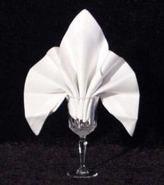 The Fleur de Lys Goblet Fold  27 napkin origami folds , sight also has  napkin etiquette.