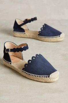Castaner Karla Scalloped Espadrilles from Anthro. These are absolutely adorable: I love the navy blue canvas, the scalloped detailing. So preppy, so summery, so great.