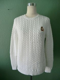 NEW LAUREN RALPH LAUREN WHITE 100% COTTON CABLE KNIT SWEATER PS-PM-PL #LaurenRalphLauren #Cardigan