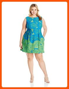 Taylor Dresses Women's Plus Size Fit and Flare Sketched Rose Print Scuba Dress, Azure Lime, 24W - All about women (*Amazon Partner-Link)