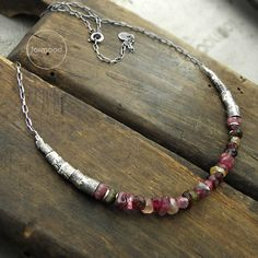 Tourmaline necklace oxidized sterling silver and by studioformood