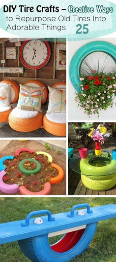 "DIY Tire Crafts – Creative Ways to Repurpose Old Tires Into Adorable Things"", ""For the old tires in the back yard"", ""Discover thousands of imag Outdoor Projects, Garden Projects, Craft Projects, Garden Ideas, Backyard Ideas, Recycled Crafts, Diy And Crafts, Diy Deco Rangement, Tire Craft"