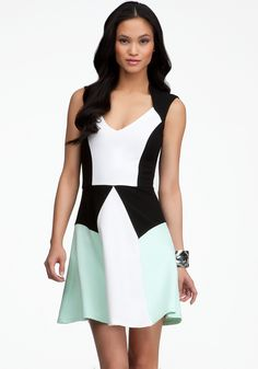 Colorblock Fit & Flare Dress #bebe #vday I'm loving bebe's new line with the Mint and Coral on Black and White #colorblocks